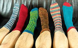 Toe up Socken auf der Rundstricknadel